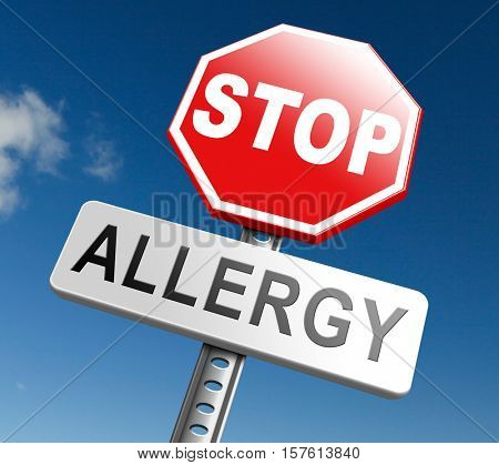 Allergy stop allergies and allergic reactions hypersensitivity disorder of the immune system  asthma attack hay fever 3D, illustration