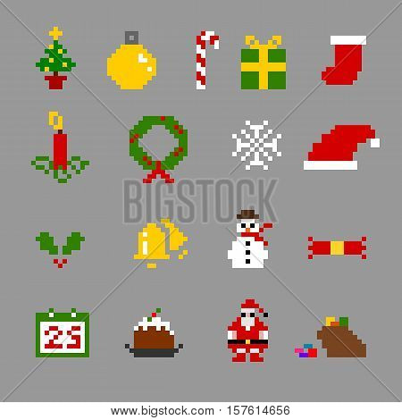 Christmas Objects and Characters Pixel Icon Set