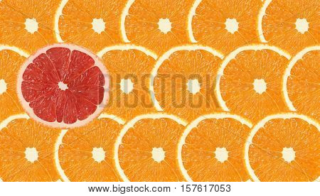 one grapefruit slice stand out of orange fruits slices