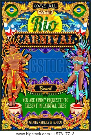 Rio Carnaval festival poster illustration. Brazil night Show Carnival Party Parade masquerade invitation card template. Latin dance event with samba or salsa dancer theme. Carnival mask vector symbol