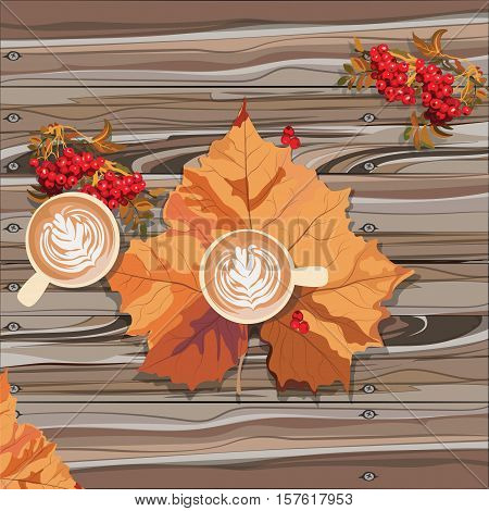 Hot steaming cup of coffee and autumn leaf on wooden table. Seasonal still life and morning coffee concept. Vector illustration.
