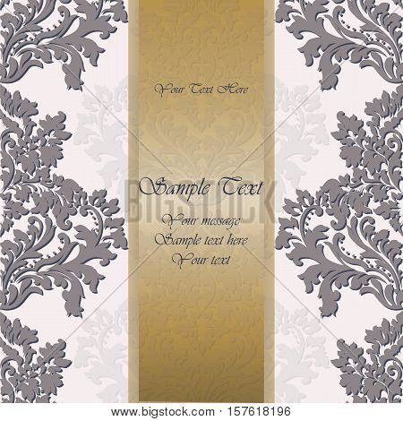 Baroque Vintage floral damask Invitation card. Vector background. Luxury Classic Damask ornament. Royal Victorian texture for wallpapers, textile, fabric