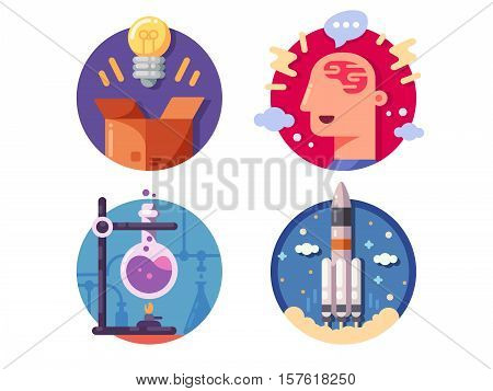 Innovative ideas invention and discovery. Launch and perform experience. Vector illustration