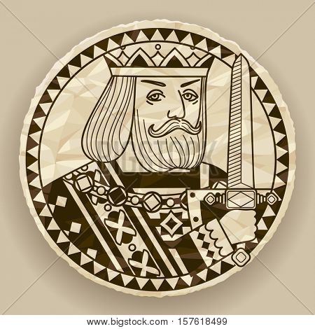 Face of King on round crumpled paper background. Vintage contour drawing of playing cards character. Contains the Clipping Path