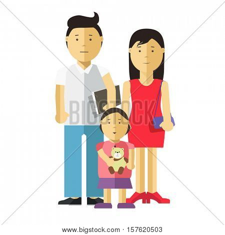 Portrait of happy family together: mother, father and child. Young couple of husband and wife and their daughter. Vector illustration with daddy, mom and kid. Isolated on white backround. Flat style.
