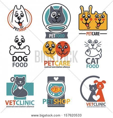 Animal labels and stickers. Pet shop logo set. Vet shop template collection. Vector Illustration. Isolated on white.