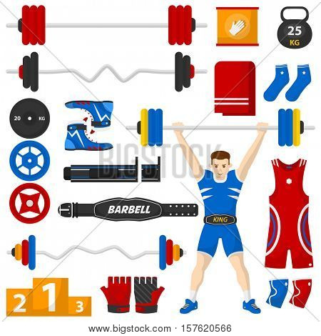 A man with a barbell over his head. Barbell equipment set. Bodybuilding or fitness icons set. Vector Collection. Isolated Illustration.
