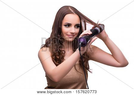Young beautiful woman with hair dryer isolated on white