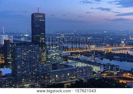 Beautiful Cityscape of Vienna Austria at night