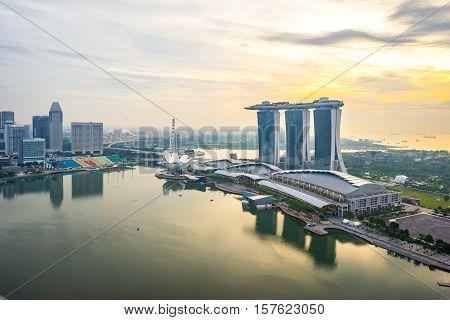 Sunset At Marina Bay In Singapore City, Singapore