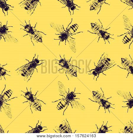 Vector Seamless Pattern With Crawling Bees