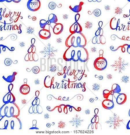 Watercolor hand drawn sketch Christmas seamless pattern. Us for postcard, card, invitations and christmas decorations.