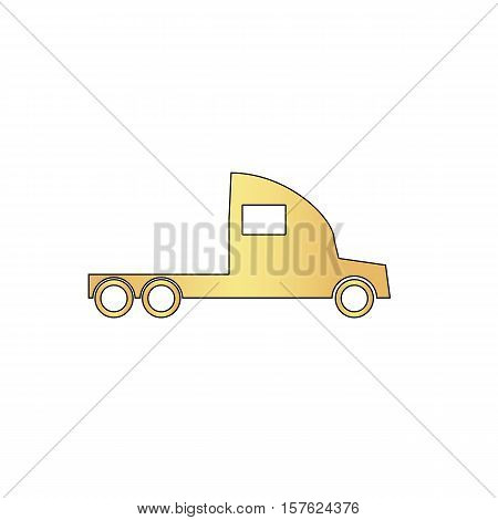 cargo truck Gold vector icon with black contour line. Flat computer symbol