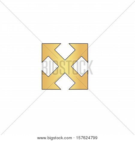 Enlarge Gold vector icon with black contour line. Flat computer symbol