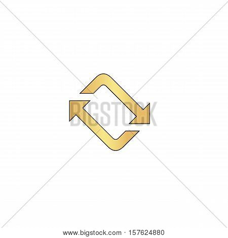 refresh Gold vector icon with black contour line. Flat computer symbol
