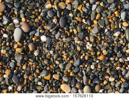 Colorful beach pebbles close up.