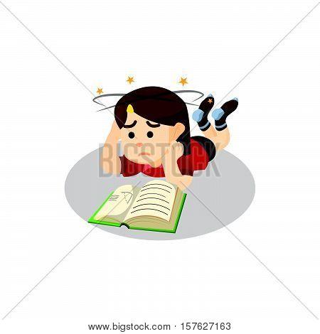 Boy confused read a book illustration design