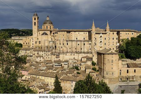 Famous castle in Urbino Italy in the evening