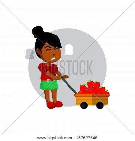 Girl pulling cart of apple illustration design