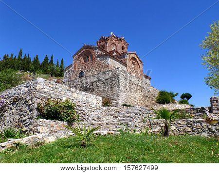 Church of Saint John at Kaneo against vivid blue sky, Ohrid, Republic of Macedonia
