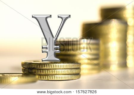 The symbol of the yuan on the background of bars coins . The concept of changes in the exchange rate .