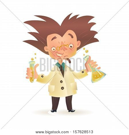 Stereotypic bushy haired mad professor in lab coat holding chemical flask and test tube, cartoon illustration isolated on white background. Crazy comic scientist, mad professor, chemist, doctor