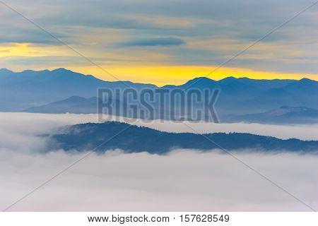 Morning fog at doi samer dao at Sri Nan national park Thailand