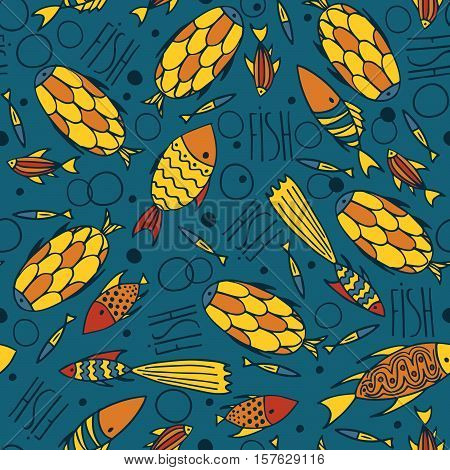 Blue Pattern With Fishes In A Chaotic Manner