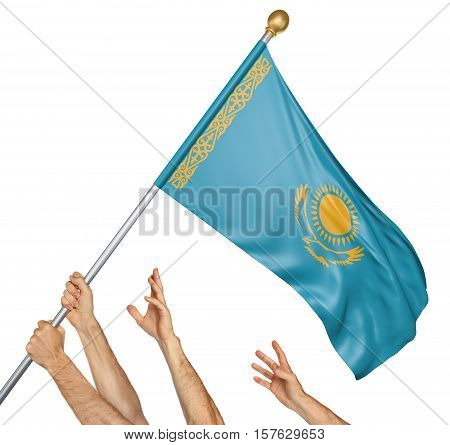 Team of peoples hands raising the Kazakhstan national flag, 3D rendering isolated on white background