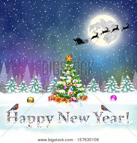 meryy christmas and happy new year vintage greeting card on winter landscape with christmas tree