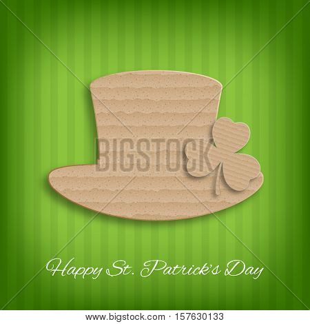 St. Patricks Day background. Background with cardboard clover and hat. EPS10 vector