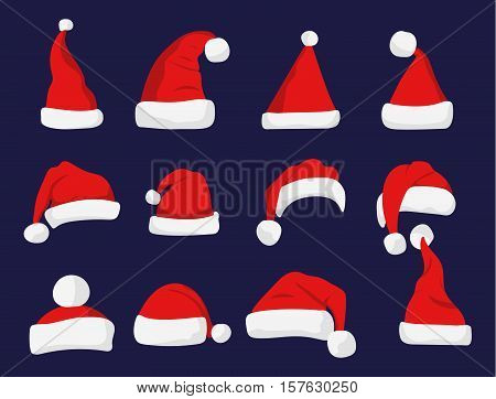 Santa Claus red hat isolated New Year 2017 santa red hat . Santa Christmas hat decoration. vector illustration in flat style