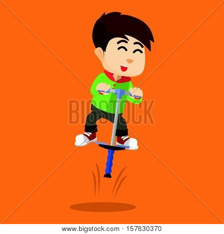 Boy playing pogostick eps10 vector illustration design