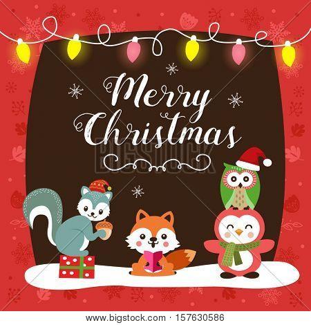 Christmas card with cute cartoon animals