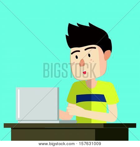 Boy using computer eps10 vector illustration design
