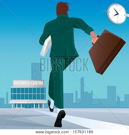 Businessman Go To Work In Business Center