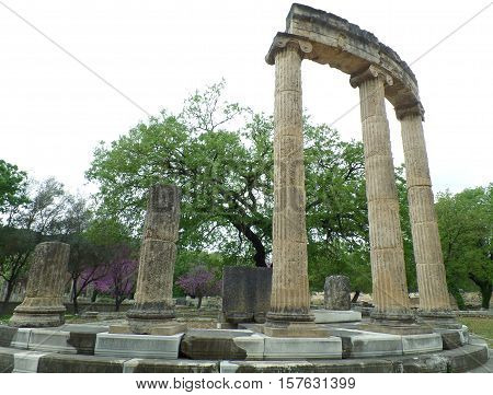 The Philippeion, an ancient sanctuary at Olympia Archaeological Site of Greece