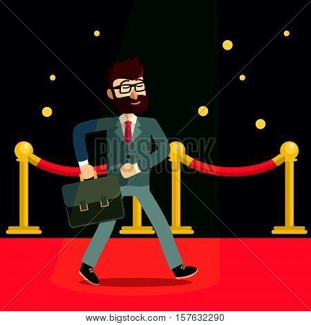 Businessman red carpet eps10 vector illustration design