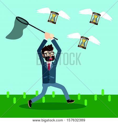 Business man catching time eps10 vector illustration design