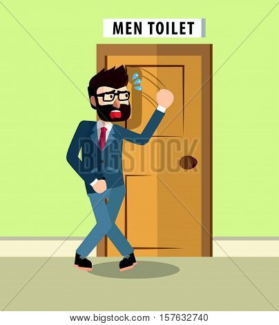 Hurry pee cartoon eps10 vector illustration design