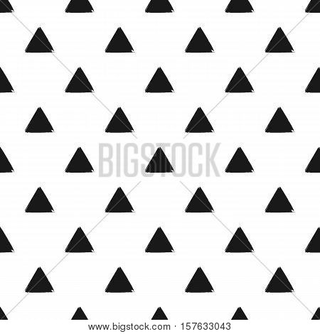 Geometric seamless pattern of grunge black triangle, hand painted seamless background of monochrome trigon, vector design textile, wallpaper, web design, wrapping, fabric, paper