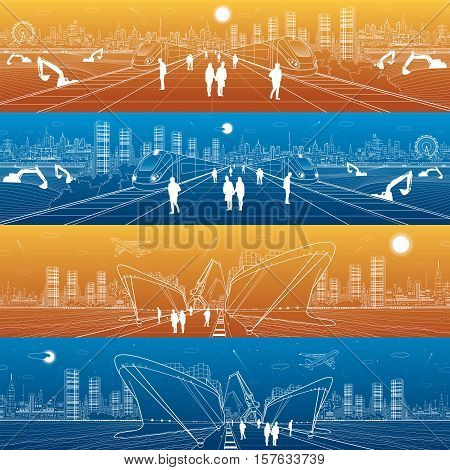Transportation and industrial panorama. Two cargo ships loading. Two trains traveling. Day and night city infrastructure. Boats on water, sea harbor. People walking. Airplane fly. Vector design art