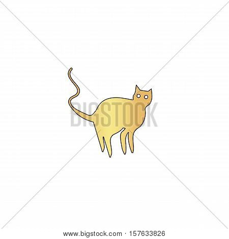 Evil Cat Gold vector icon with black contour line. Flat computer symbol