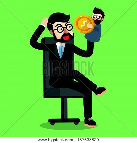 Business man playing with puppet illustration design