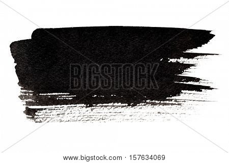 Expressive black brush stroke isolated on the white background