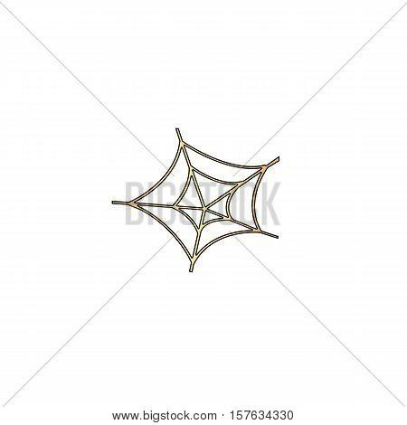 Spiderweb Gold vector icon with black contour line. Flat computer symbol