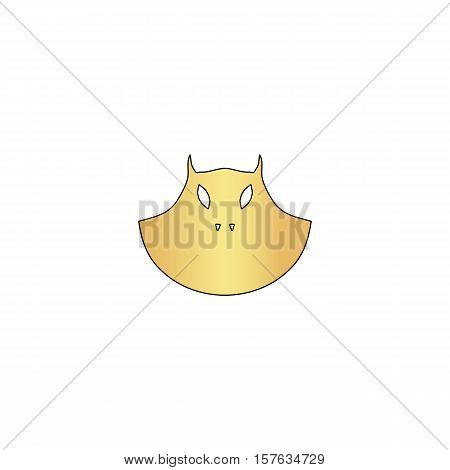 mask Gold vector icon with black contour line. Flat computer symbol