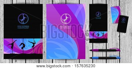 Vector Yellow and Pink Pole Dance and Aerial Sports School Corporate Identity and Stationery Templates Set. Document, Book