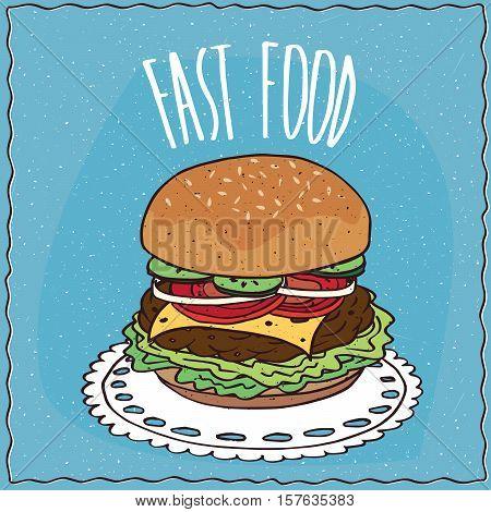 Classic Cheeseburger In Handmade Cartoon Style