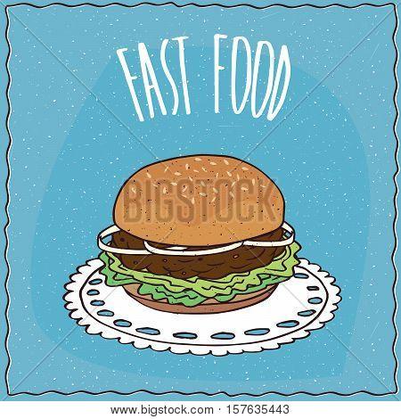 Classic Hamburger In Handmade Cartoon Style